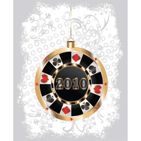 gambling chip: Chip de p�quer de Navidad. Vector
