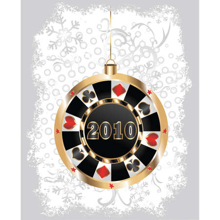 Christmas poker chip. Vector