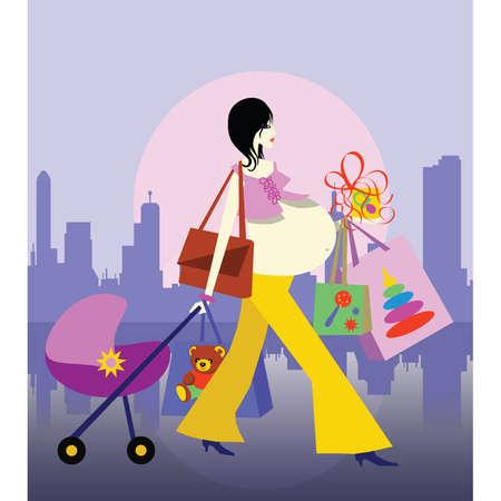 Ir de compras en la ciudad. La mujer embarazada compra los regalos para el beb�. Vector