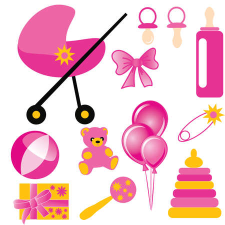 babys dummies: Baby Set of childrens subjects and toys for the girl. vector