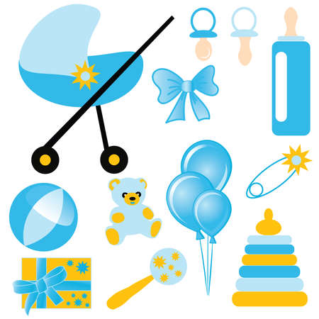 baby's dummies: Baby Set of childrens elements and toys for the boy. vector Illustration