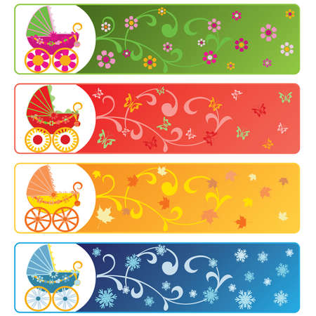 Vector illustration - four seasons with babys carriage  Vector