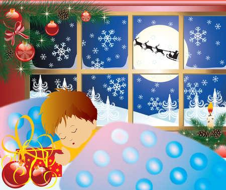 Christmas story, baby's dream. Stock Photo - 5767462