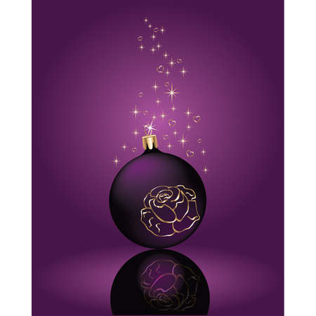 Christmas violet ball with a gold rose. vector  Vector
