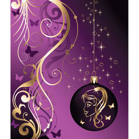 mariposas amarillas: Tarjeta de Navidad con bola de a�o nuevo y la ni�a. vector
