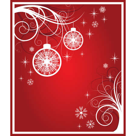 white and red christmas card. vector Vector
