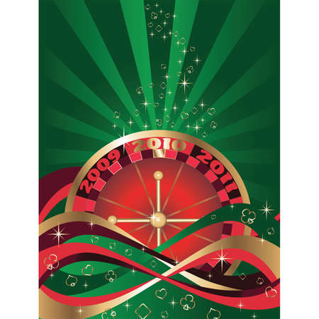 Casino Christmas green card, vector Vector