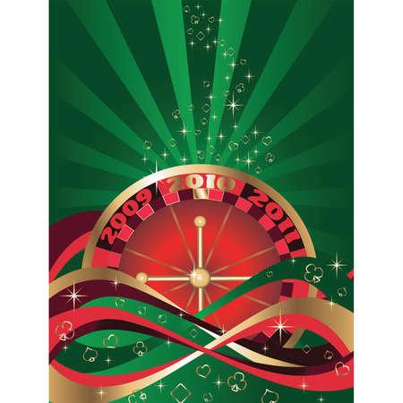 Casino Christmas green card, vector Vector