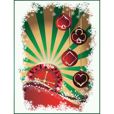 Casino Christmas, background with balls. vector  Vector
