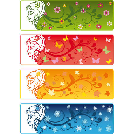 Four Seasons Banners with girl. vector Stock Vector - 6135831