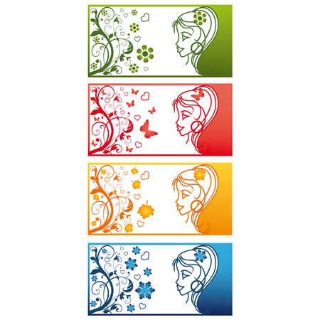Four Seasons Banners with girl. vector  Stock Vector - 6135836