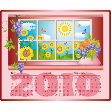 Beautiful calendar for 2010, July, August, September. vector  Vector
