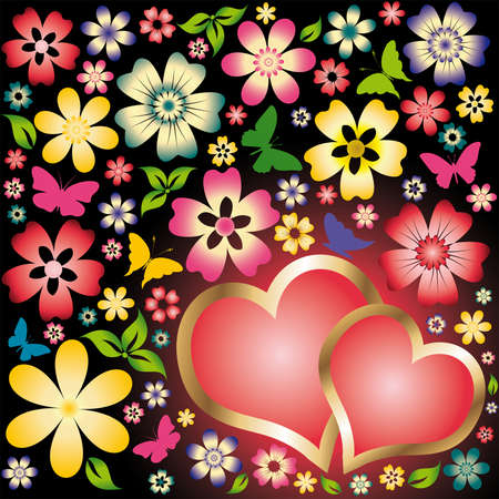 love card two hearts and flowers Vector