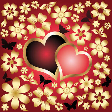 Liebe Karte zwei Herzen. Vektor