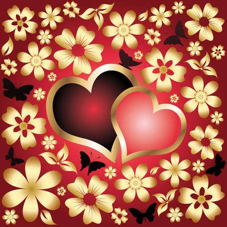 love card Two hearts. vector Vector