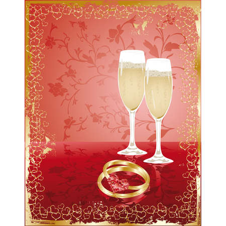 betrothal: Wedding invitation card with rings and champagne. Illustration