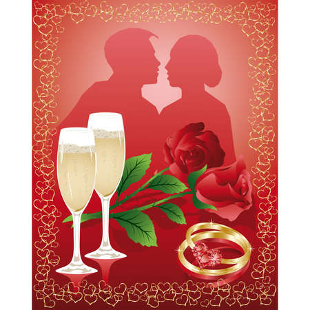 Wedding love card with rose, vector Vector
