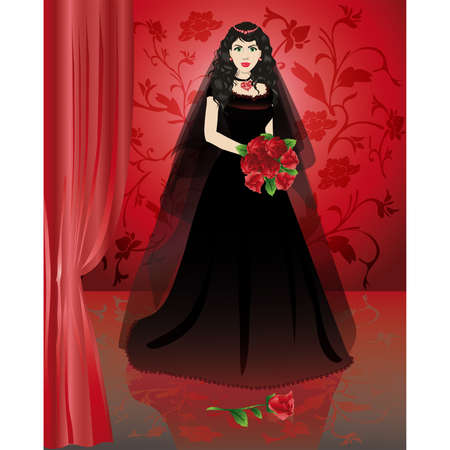 The black bride. A congratulatory card for alternative wedding.