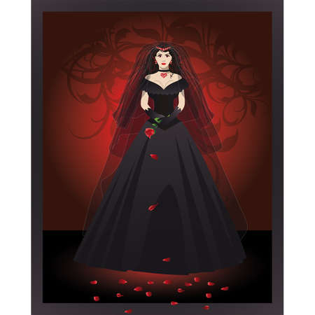The bride of the vampire in a black dress.