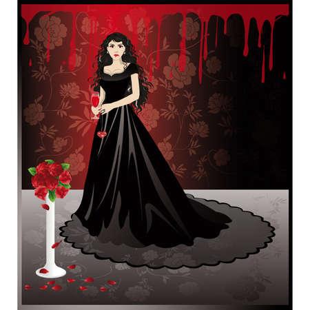 Vampire belle fille avec un verre de sang. vecteur