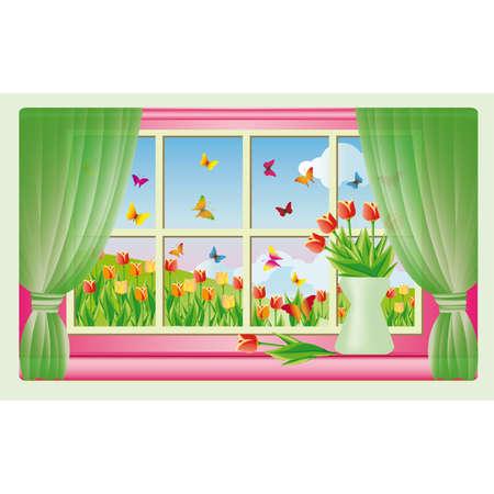 vista ventana: Tarjeta - primavera, una vista desde la ventana.  Vectores