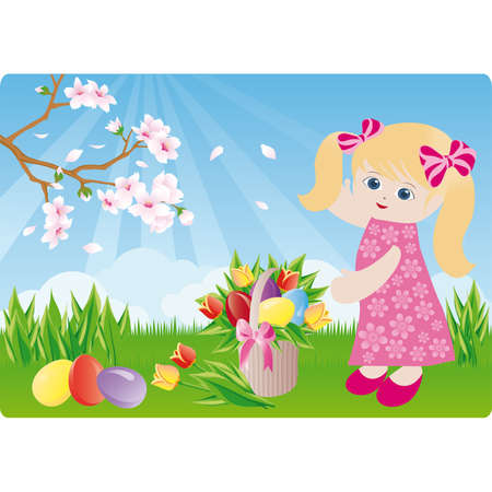 Easter spring card, Picnic Vector
