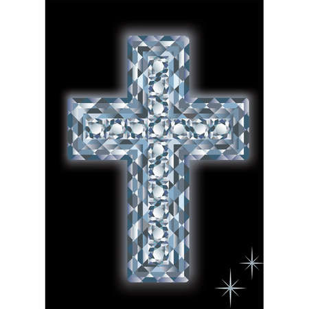 Diamond cross on a black background. vector Stock Vector - 6607838