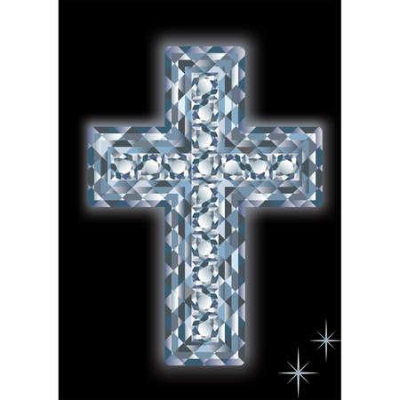 Diamond cross on a black background. vector Stock Vector - 6607838
