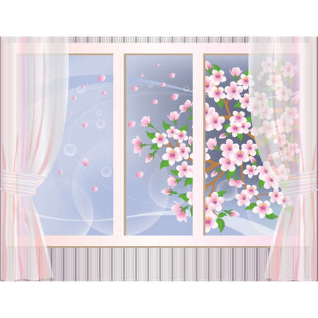 window curtains: Spring wallpaper, vector