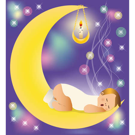 sleeps: The baby sleeps on the moon.