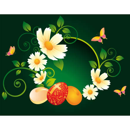 camomile flower: Easter greeting card Illustration