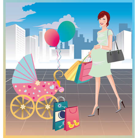 Shopping of the pregnant woman Vector