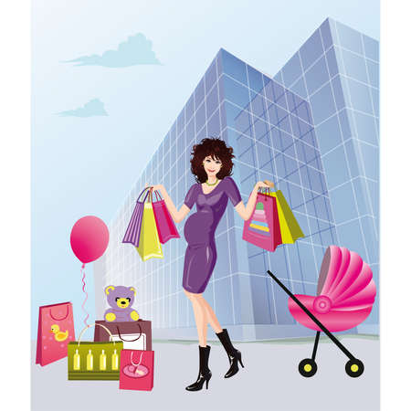 Pregnancy and shopping Stock Vector - 6736451
