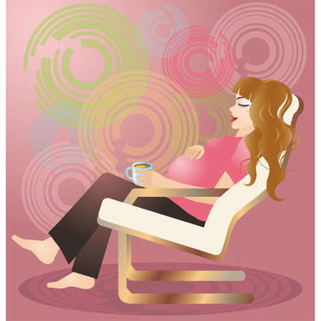 feminity: The pregnant woman keeps a cup and sits in an armchair.  Illustration