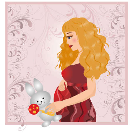 plush: The pregnant woman with a plush hare.