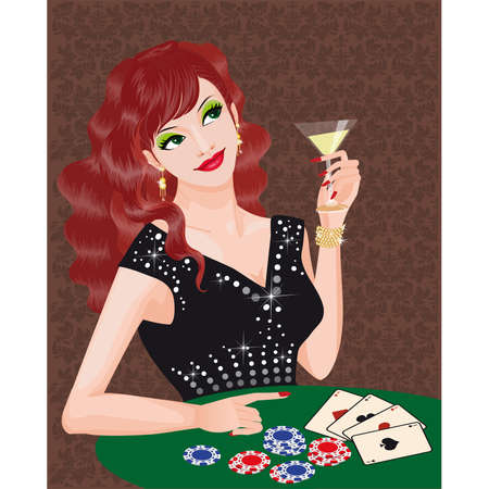 The green-eyed girl plays poker. Vector