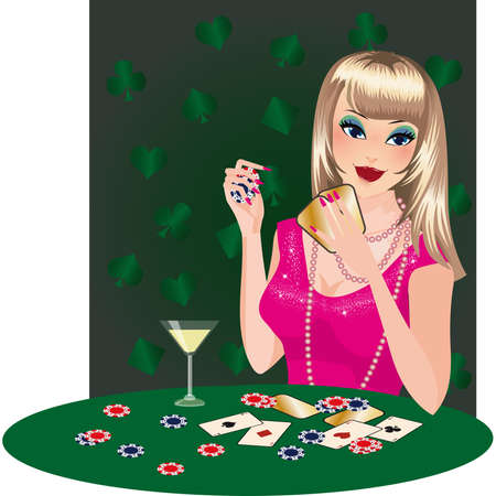 The girl blonde plays poker.