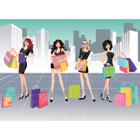 Girls and Shopping Stock Vector - 6829884