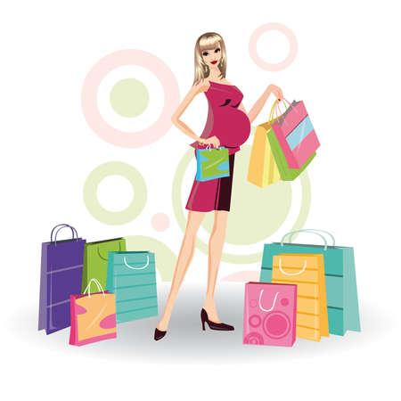 mujer embarazada con bolsas de la compra Vectores