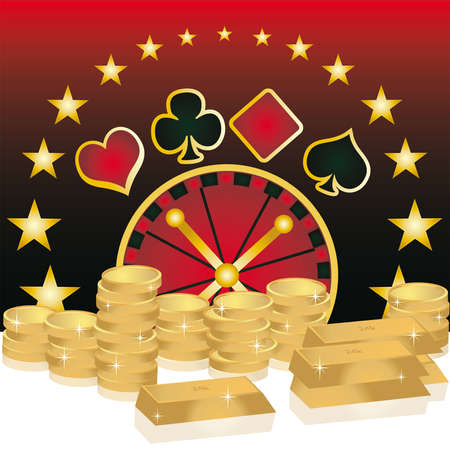 card casino theme with gold coins and bars  Stock Vector - 6829904
