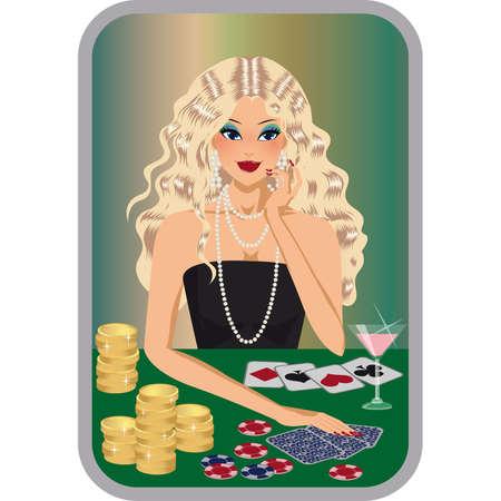 diamond earrings: beautiful blonde girl plays poker.