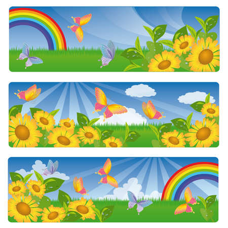 Three summer banners with sunflowers and a rainbow.  Vector