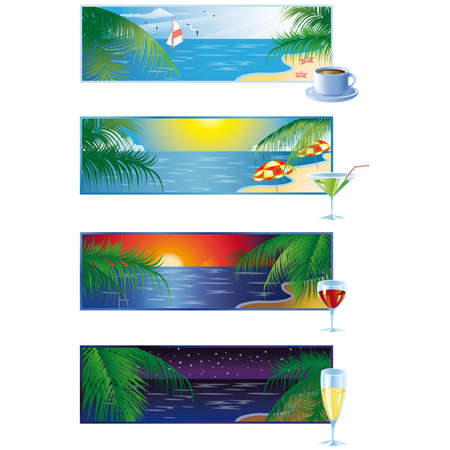 Set 4 summer banners Morning day evening night.  Vector