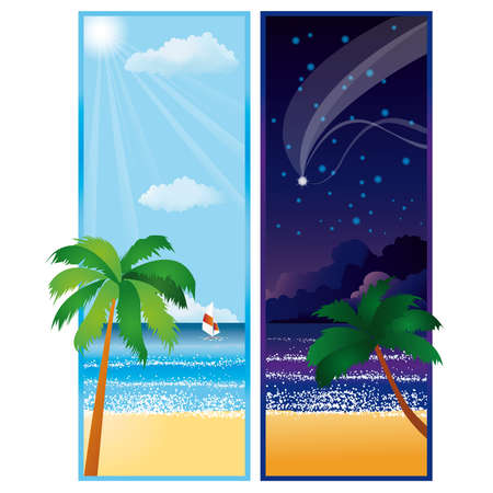 Summer banners with sea. Day and Night. Stock Vector - 6883595