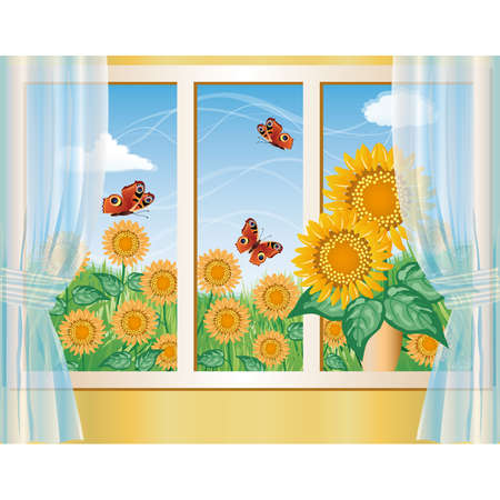 Summer background with sunflowers Vector