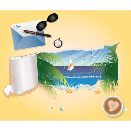 Summer background with beach image  Vector