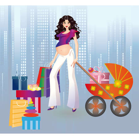 mums: Pregnant girl and shopping in a city