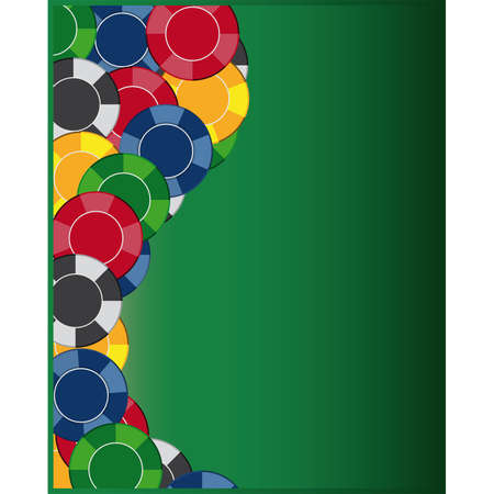 Colorful gambling chips on green background  Vector