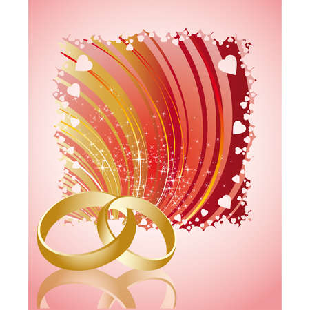 Love card with golden wedding  rings  Vector
