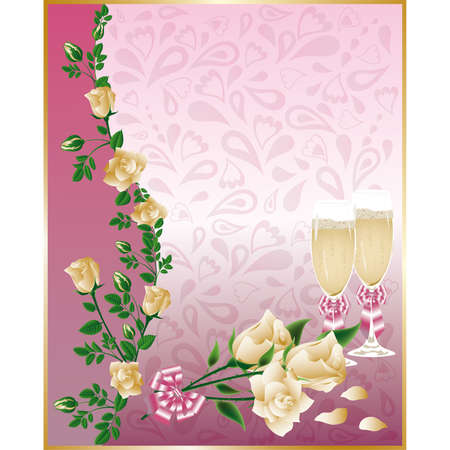 Wedding card with champagne and white roses  Vector